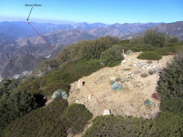 An aerial view of the site looking westerly. The red dashed line is the approximate return beam line to Mount Wilson, just over 22 miles in the distance. Imaged on 10-14-2014