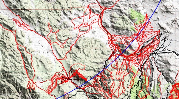 Overall area northerly of Quail Mountain. Blue line is 10.6 mile Serin cell tower radius.