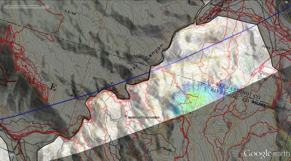 Smith Water Canyon Serin tower cell phone coverage areas. Yellow is strongest, blue is weakest.