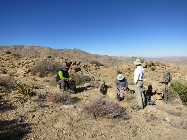 At the Bottle Bush. Pete shunning his GPS and looking at the map, Paul wondering how he got talked into this and me, staring off into space wondering how I'm going to talk these guys into it again. The bottle bush is just in front of Paul to the right of the yucca. (by P. McCurdy)