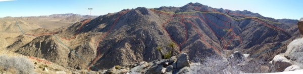 Looking across Smith Water Canyon to southerly slopes. Previous tracks in red and black. 10.6 mile radius in light blue and 11.1 mile radius in yellow. Bottle noted was found during JT42.