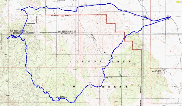 This is the entire route done over two days. Camping was in a canyon between Quail Mountain and Smith Water Canyon.