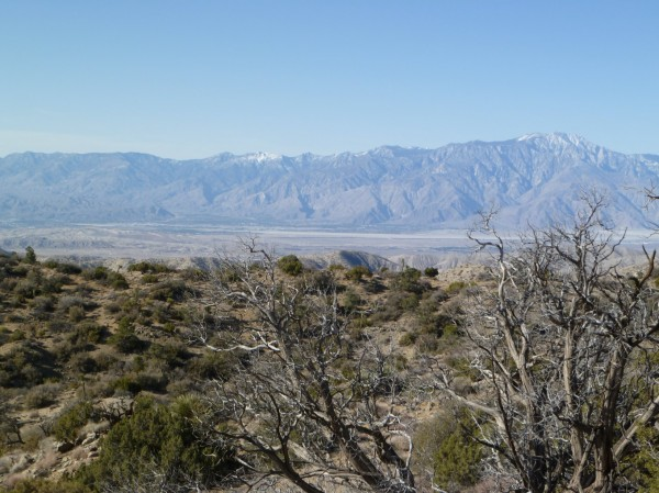 Looking westerly from the edge of the search area. Palm Springs is clearly visible to the lower left of San Jacinto Peak. Excellent cell coverage near the westerly edge of the search area.