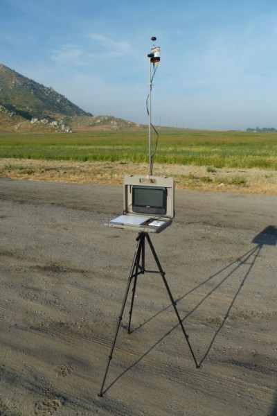 Ground station set up with omnidirectional circularly polarized antenna on top of the receiver on the mast.