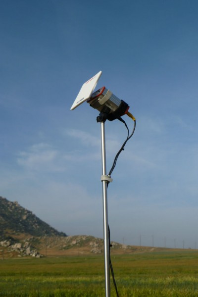 Closeup of the 13 dBi gain antenna.