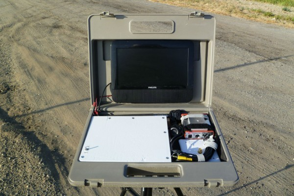 The case holds the monitor and provides storage for the receiver, cables and antennas. There is space reserved for a future DVR to record transmissions.