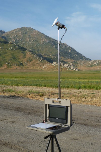 Ground station using directional plate antenna for substantially greater gain. However it must be pointed in the general direction of the aircraft.