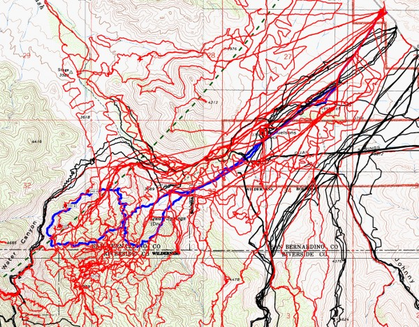 JT52 tracks shown in blue, in context with the others to date. Black is from the original search, red tracks since then and the green dashed line the 10.6 miles radius from the Serin cell tower.