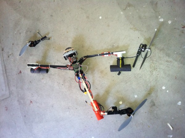 The result of the tricopter doing an uncontrolled descent from around 400'. One broke prop, two broke legs, pretty cheap! Lesson learned, don't let the damn thing get out of eyesight.