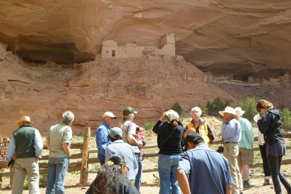 The park archaeologist, Keith Lyons, points out features of the Mummy Cave ruins to our SAR group.