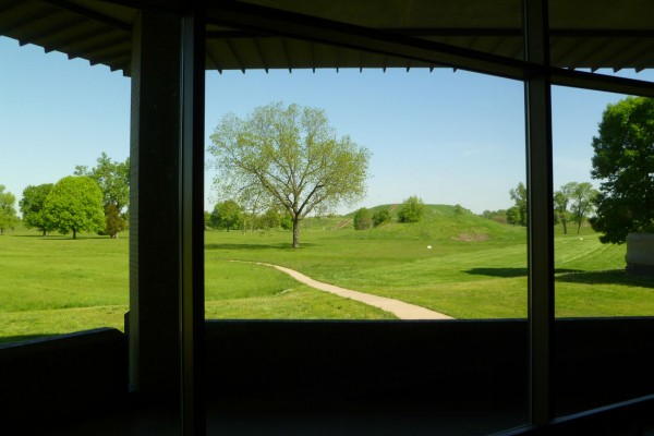 A view of the largest Cahokian mound, Monk's Mound, from the visitor center. It doesn't look too big because you can't see how far away it really is.