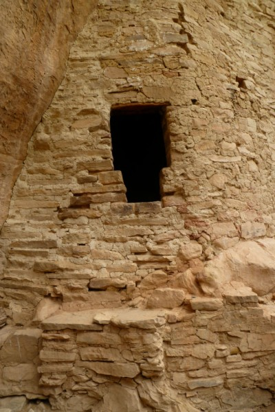 One of several T doorways among the ruins. These seem to have some sort of connection with the Chacoan people, where these doors seem to have originated. No one quite knows why they are shaped this way.