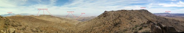 A panorama on the Quail Mountain ridge with landmarks annotated.