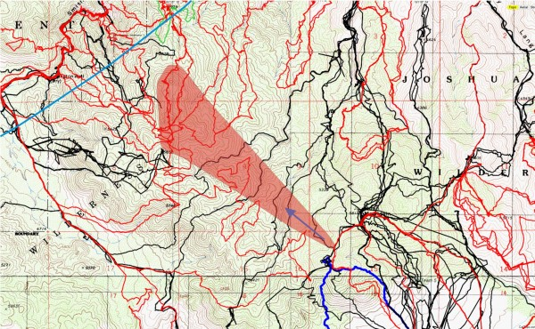 Viewing the terrain from the saddle on the ridge this is the general route I'd expect someone not fully aware of the terrain to choose. Black lines are original search tracks, reds are tracks since then and the cyan radius line in the upper left is the 11.1 mile radius from the Serin Drive cell tower. The red shaded area corresponds roughly to the zoomed panorama looking toward Smith Water.