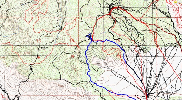 A closeup view of the area covered by JT53 in blue. Original search tracks in black, tracks since then in red.