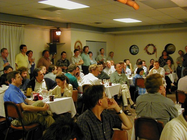 Another view of the crowd at Wheeler's dinner. I don't know who they all are, but they are very, very smart.