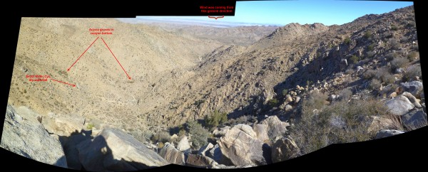 Annotated image looking down toward Smith Water Canyon from the top of the bowl. Quail Wash is in the flat area to the far right. Elevation drop to that part of Smith Water in the foreground is about 900'.