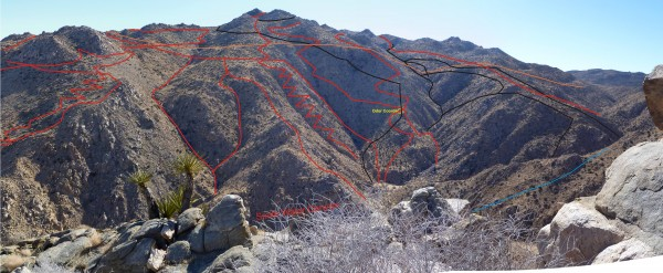Looking southerly toward the southerly slopes of the central Smith Water Canyon area showing approximate cumulative search tracks to date.