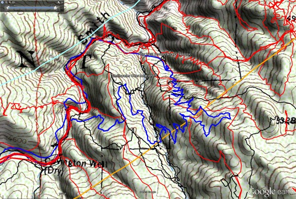 Overall tracks to date in the central Smith Water Canyon area. The black tracks are from the original search, red tracks those made since since, and JT56 shown in blue. The light blue line is the 10.6 miles radius from the Serin Drive cell tower and the orange line the 11.1 mile radius.