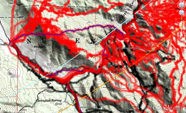 Overall tracks to date in the central Smith Water Canyon area showing a 50 meter swath of visual coverage. The darker the color the better visual coverage that area has received.