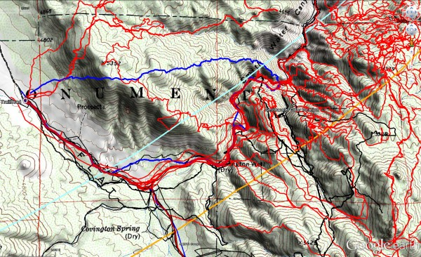 Overall tracks to date in the central Smith Water Canyon area. The black tracks are from the original search, red tracks those made since since, and JT60 shown in blue. The light blue line is the 10.6 mile radius from the Serin Drive cell tower and the orange line the 11.1 mile radius.