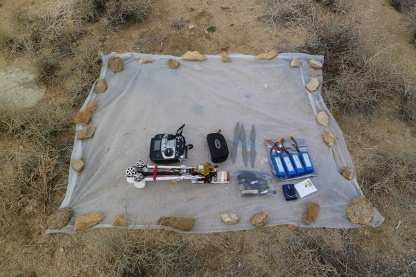 The various components of the tricopter prior to assembly at a remote desert test area. This all fits nicely into a large backpack and transports very well.