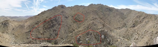 In this panorama looking southeast, the three areas of primary interest are outlined in red. The central Smith Water bowl area is the right third of this picture.