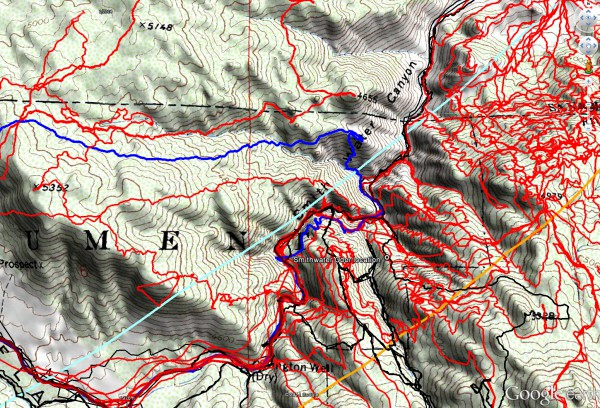 The tracks for JT62 are shown in dark blue, the original search tracks are in black, and searches since then in red. The light blue line is the 10.6 mile Serin cell tower radius, and the orange line the 11.1 mile radius.