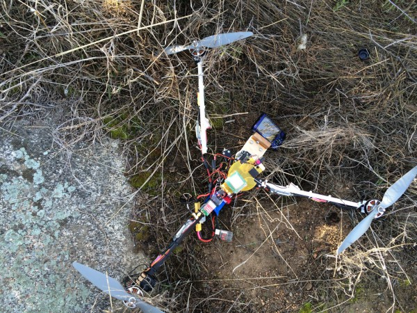 The end of my resurrected tricopter. It was, as all good crashes are, spectacular.