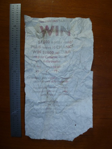 The back of the Dollar Tree Store receipt showing sweepstakes information.