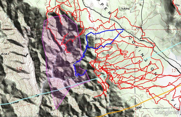 The tracks for JT68 are shown in blue, previous search tracks are in red. The locations of the receipt and dry falls are noted. The light blue line is the 10.6 mile Serin radius and the orange line the 11.1 mile radius. The magenta shaded area is the area of highest interest in this canyon based upon cell coverage.