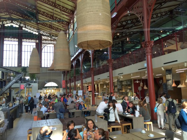 A view of the top floor of the Mercato Centrale, showing the new, hipsterish food court. But it is damn good.