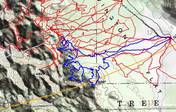 JT70 tracks are shown in dark blue. Previous search tracks are shown in red. The light blue line is the Serin Drive cell tower 10.6 mile radius and the orange line the 11.1 mile radius.