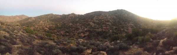 Panoramic photo of the draw between Lower and Upper Covington.  Slightly rugged but navigable terrain.