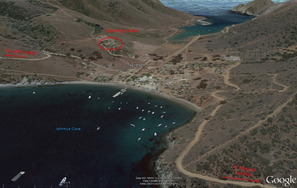 A screen grab from Google Earth showing a perspective view of Two Harbors. Yes, it's that small.
