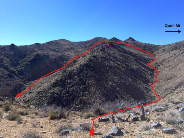 A view of the route up one canyon, then a cross over, then down and out the parallel canyon to the right. Nice hike.