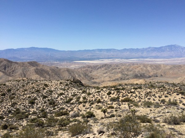 The view of the low desert from the ridgeline. That's Indio and Bermuda Dunes just to the left of center. Mount San Jacinto is visible at the far right. Excellent View!