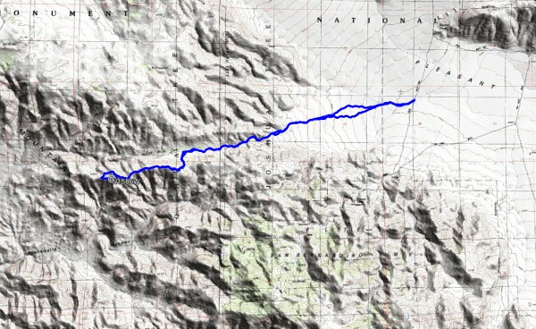 Our overall hiking route to the alleged crash site from Pleasant Valley.