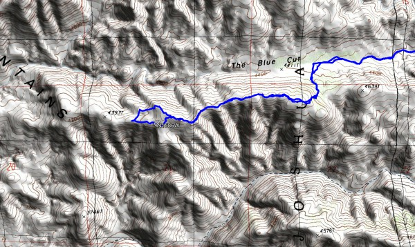 A detailed view of our hiking route near the coordinates.