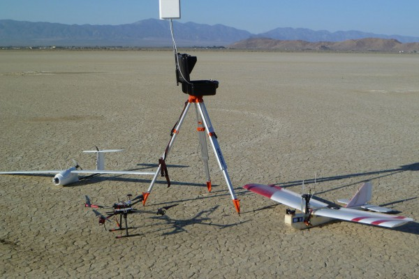 All the toys for the day, including the ground station and a Tarot 650 quadcopter. The General Atomics drone farm is on the far shoreline at the left edge of the picture.