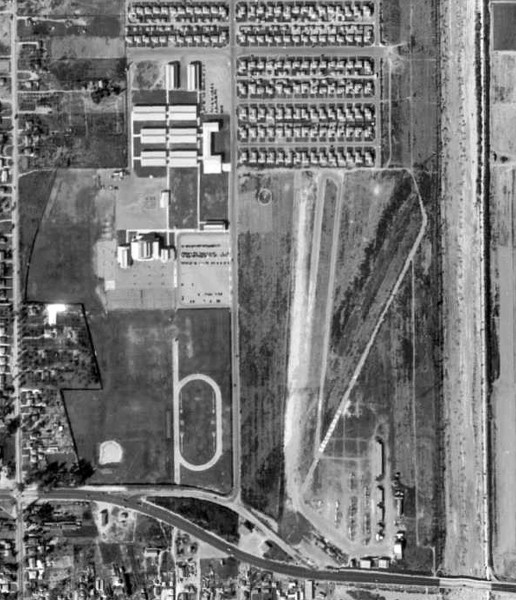 Bellflower High School and Bellflower Airport, 1953
