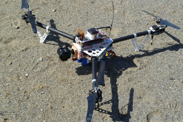 A closeup of my Tri^3 tricopter showing the simple GoPro mount. Nothing fancy here.