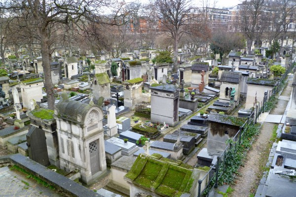 An overall view of a very small portion of the Montmartre Cemetery.