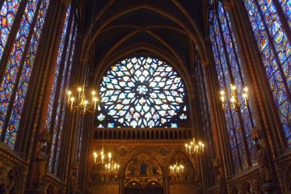 The window at one end of Sainte Chapelle. It must be at least 40' in diameter and its lacy support structure is carved stone.