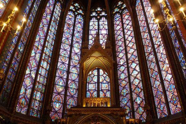 The other end of Sainte Chapelle showing the amazing verticals of stained glass.