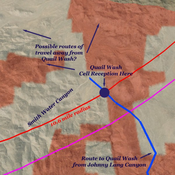 Crude map showing route from Johnny Lang to Quail Wash cell reception area, and possible routes of travel out of Quail Wash into mostly unsearched areas.