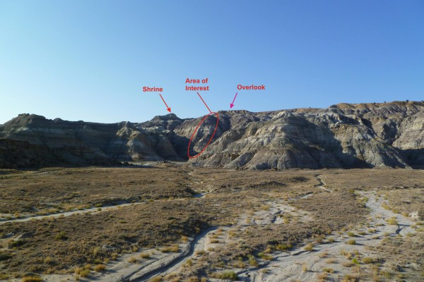The view of the spine and supposed stairway area from the approach road in Kutz Canyon Wash.