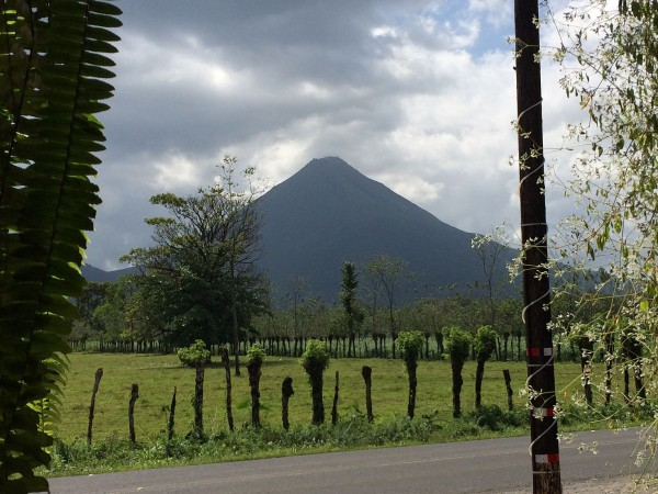 The view of the Arenal Volcano from our lunch table. Pizza and volcanoes.
