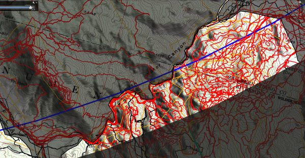 By May of 2016 the area of interest had been searched very well, tracks in red, suggesting an accident on descent might not be the correct scenario.