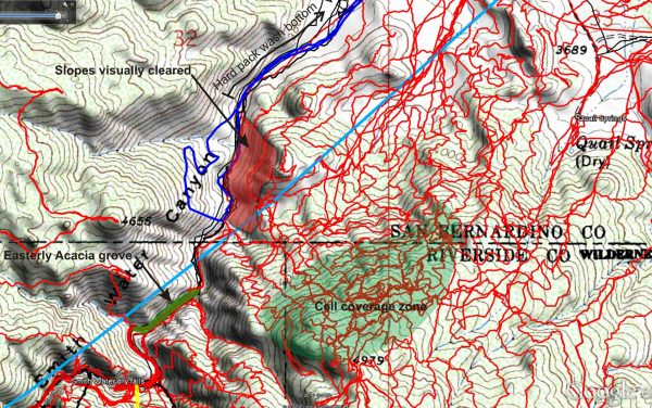 A closer look at areas covered by JT83. I believe I was able to visually clear the red shaded area by binocular examination from the opposite slope. Note the designation of the hard packed area of Smith Water's bottom, beyond which I think it's unlikely Bill would have traveled without leaving distinct tracks.